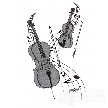 Cello And Violin Embroidery Design
