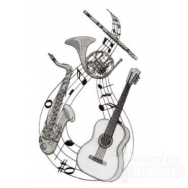 Sax French Horn Guitar Flute Embroidery Design