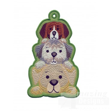 Puppies Ith Novelty Bookmark Embroidery Design