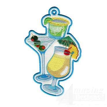 Cocktails Ith Novelty Bookmark Embroidery Design