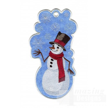 Snowman Ith Novelty Bookmark Embroidery Design