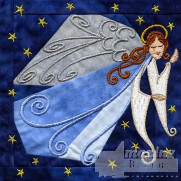 Angel In-the-hoop Christmas Quilt Block