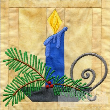 Candle In-the-hoop Christmas Quilt Block