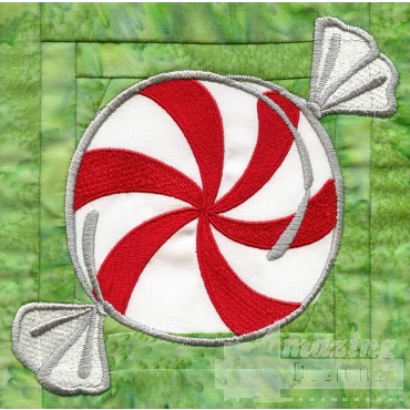 Peppermint In-the-hoop Christmas Quilt Block