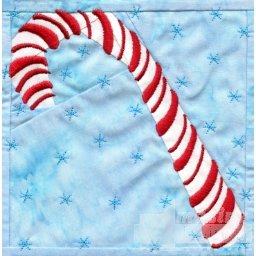 Candy Cane In-the-hoop Christmas Quilt Block