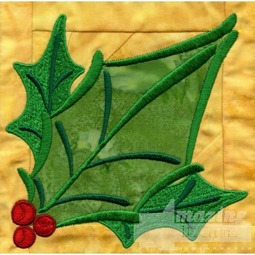 Holly In-the-hoop Christmas Quilt Block