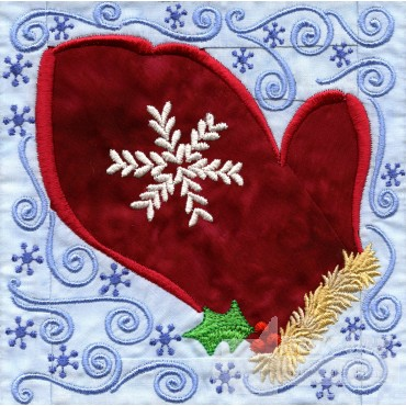 Mitten In-the-hoop Christmas Quilt Block