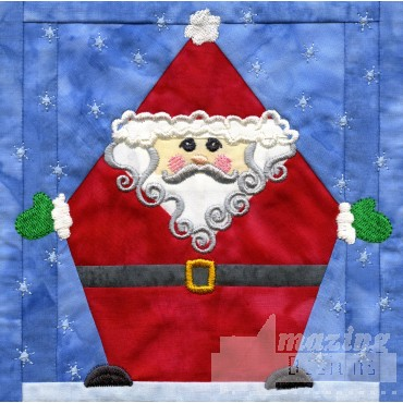 Santa In-the-hoop Christmas Quilt Block