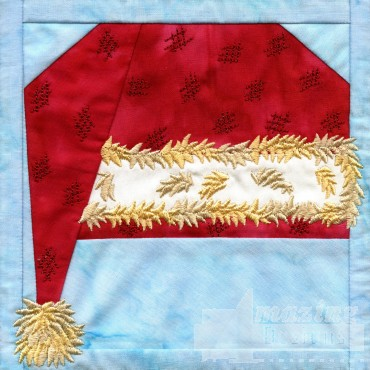 Santa Hat In-the-hoop Christmas Quilt Block