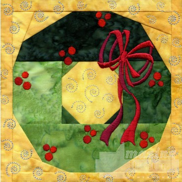 Wreath In-the-hoop Christmas Quilt Block