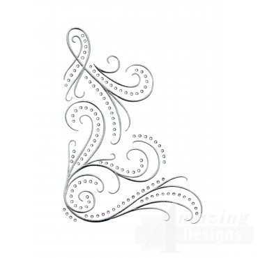 Dazzling Scroll Accent 6 Embroidery Design