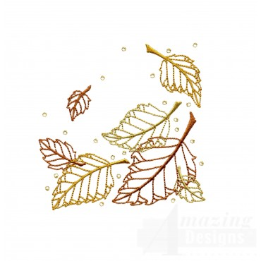 Dazzling Leaf Accent 4 Embroidery Design