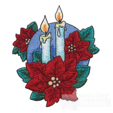 Candles with Poinsettia