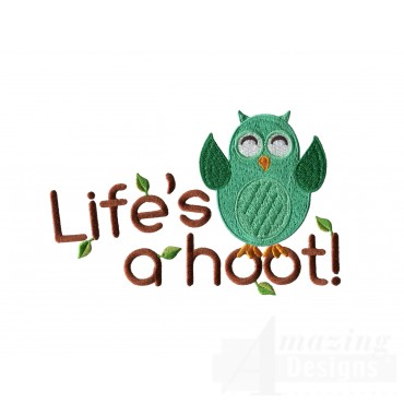 Lifes A Hoot Owl Embroidery Design