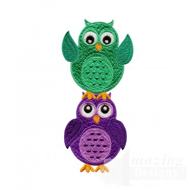 Green And Purple Owls Embroidery Design