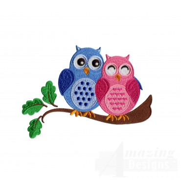 Blue And Pink Owls Embroidery Design