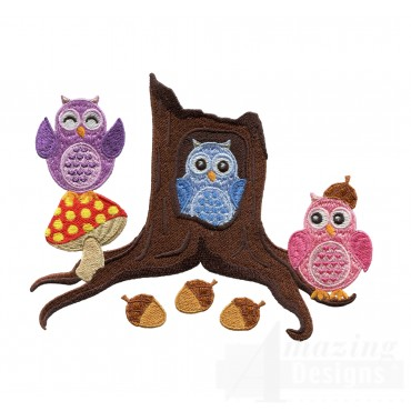 Forest Owls Embroidery Design