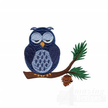 Sleepy Owl Embroidery Design
