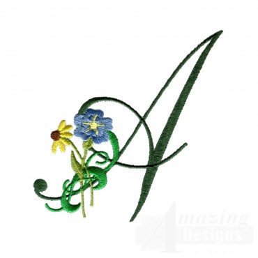 Letter A Floral Monogram Embroidery Design