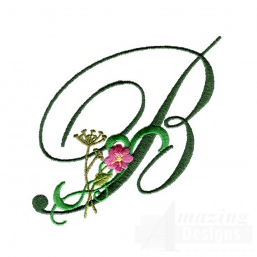 Letter B Floral Monogram Embroidery Design