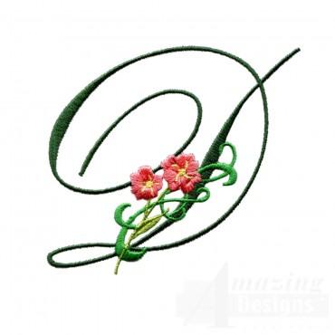 Letter D Floral Monogram Embroidery Design