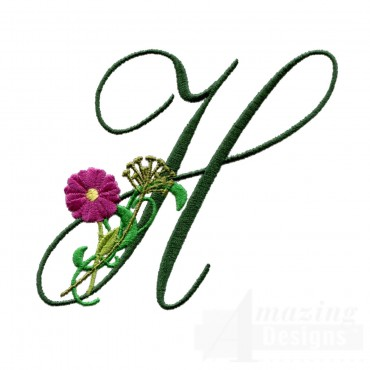 Letter H Floral Monogram Embroidery Design
