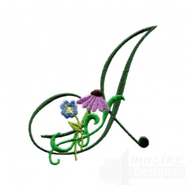 Letter I Floral Monogram Embroidery Design