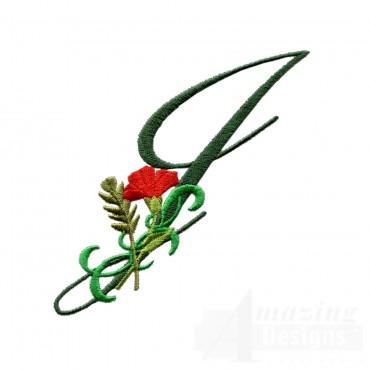 Letter J Floral Monogram Embroidery Design