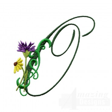 Letter O Floral Monogram Embroidery Design