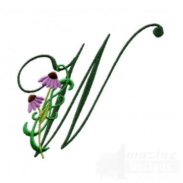 Letter W Floral Monogram Embroidery Design
