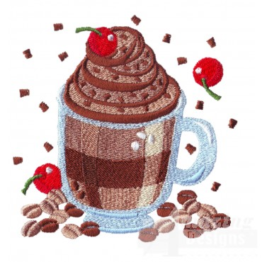 Coffee With Cherries Embroidery Design