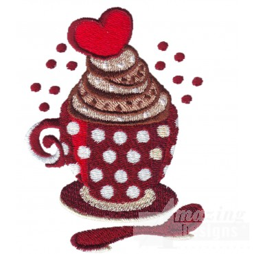 Heart On Top Coffee Embroidery Design