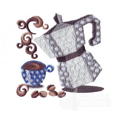 Coffee Pot And Cup Embroidery Design
