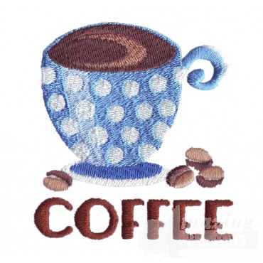 Coffee Lettering And Cup Embroidery Design