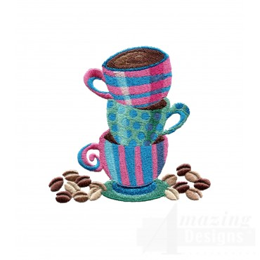 Stacked Coffee Cups Embroidery Design