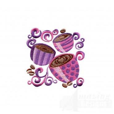 Coffee Cup Grouping Embroidery Design