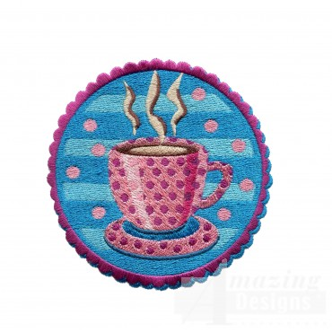 Coffee Badge Embroidery Design