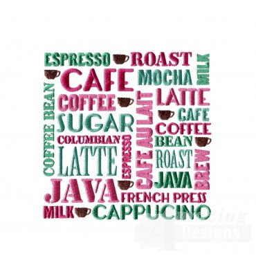 Coffee Words Tile Embroidery Design