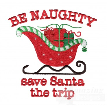 Be Naughty Christmas Embroidery Design