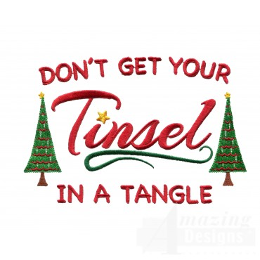 Tinsel In A Tangle Christmas Embroidery Design