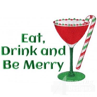 Eat Drink And Be Merry Christmas Embroidery Design