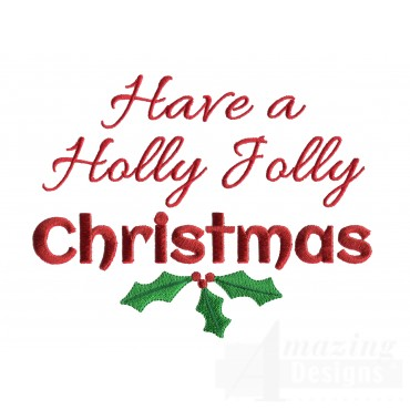 Holly Jolly Christmas Christmas Embroidery Design