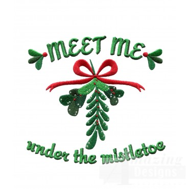 Under The Mistletoe Christmas Embroidery Design