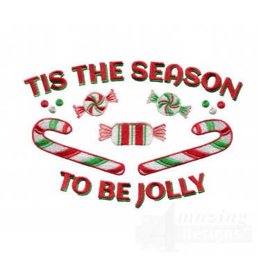Season To Be Jolly Christmas Embroidery Design