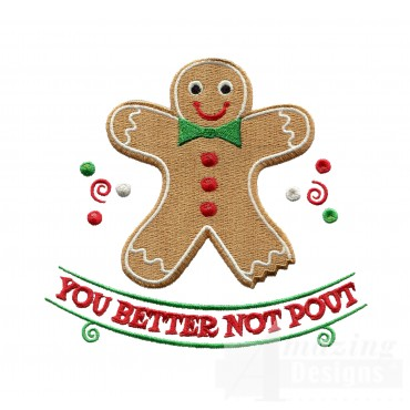 Better Not Pout Christmas Embroidery Design