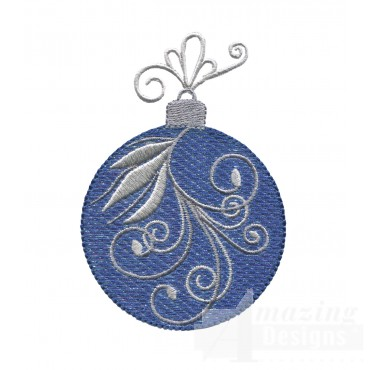 Blue Swirl Iridescent Ornament Embroidery Design