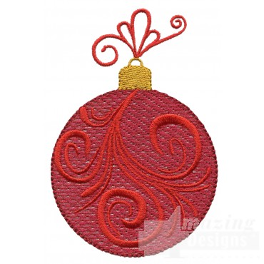 Red Swirl Iridescent Ornament Embroidery Design