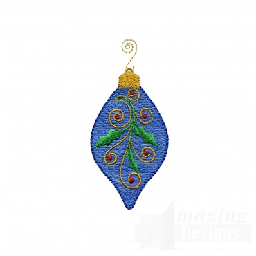 Blue Holly Iridescent Ornament Embroidery Design