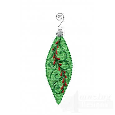 Green Narrow Iridescent Ornament Embroidery Design