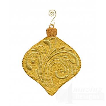 Gold Swirl Iridescent Ornament Embroidery Design